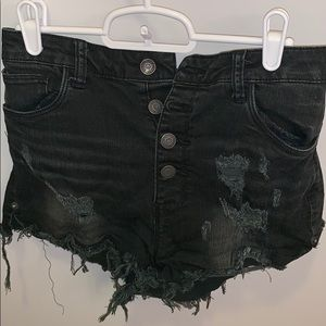 Pants - Black high waisted denim cut off denim shorts